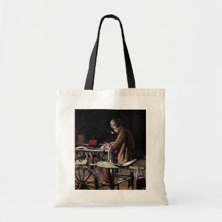 """""""The Knife Grinder""""  Vintage Illustration Budget Tote Bag"""