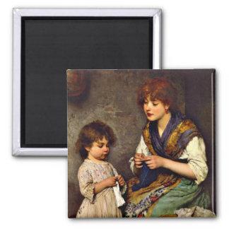 The Knitting Lesson, Eugene de Blaas artist Magnet