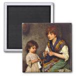 The Knitting Lesson, Eugene de Blaas artist Square Magnet