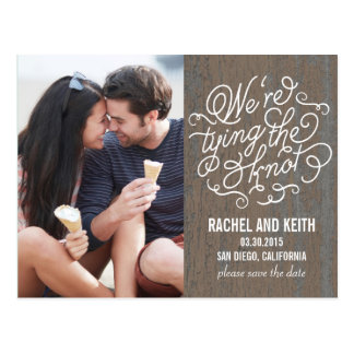 The Knot Save The Date Card - Rustic Bark Postcard