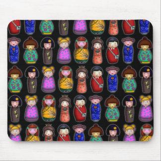 The Kokeshi Girls, patterned mousepad Mouse Pad