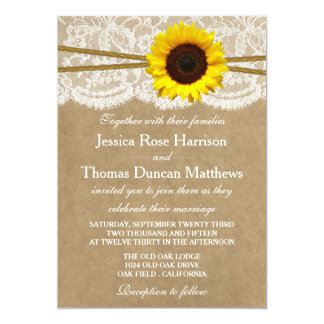 The Kraft, Lace & Sunflower Collection Invitations