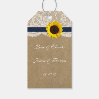 The Kraft, Lace & Sunflower Collection - Navy Gift Tags