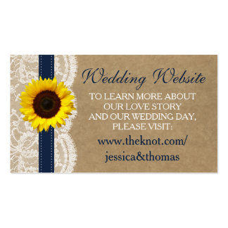 The Kraft, Lace & Sunflower Collection - Navy Pack Of Standard Business Cards