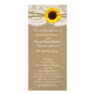 The Kraft, Lace & Sunflower Collection Programs Customised Rack Card