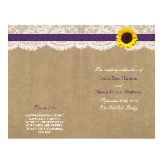 The Kraft, Lace & Sunflower Collection - Purple 21.5 Cm X 28 Cm Flyer