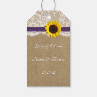 The Kraft, Lace & Sunflower Collection - Purple Gift Tags