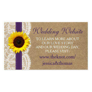 The Kraft, Lace & Sunflower Collection - Purple Pack Of Standard Business Cards