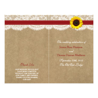 The Kraft, Lace & Sunflower Collection - Red 21.5 Cm X 28 Cm Flyer