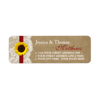 The Kraft, Lace & Sunflower Collection - Red Return Address Label