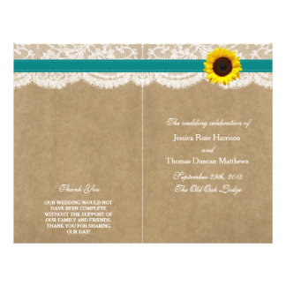 The Kraft, Lace & Sunflower Collection - Teal 21.5 Cm X 28 Cm Flyer