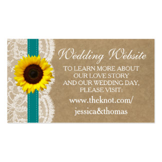 The Kraft, Lace & Sunflower Collection - Teal Pack Of Standard Business Cards