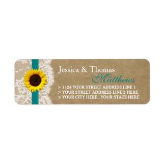 The Kraft, Lace & Sunflower Collection - Teal Return Address Label