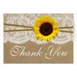 The Kraft, Lace & Sunflower Wedding Collection Note Card