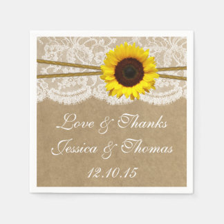 The Kraft, Lace & Sunflower Wedding Collection Disposable Napkins