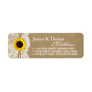 The Kraft, Lace & Sunflower Wedding Collection Return Address Label