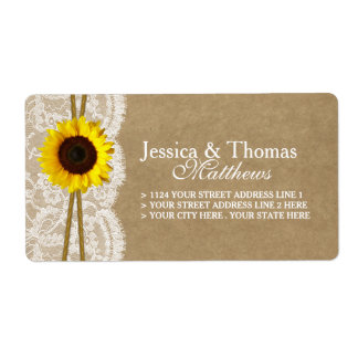 The Kraft, Lace & Sunflower Wedding Collection Shipping Label