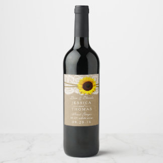 The Kraft, Lace & Sunflower Wedding Collection Wine Label