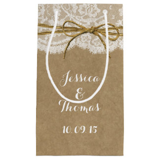 The Kraft, Lace & Twine Bow Wedding Collection Small Gift Bag