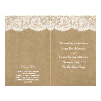The Kraft & Lace Wedding Collection Programs 21.5 Cm X 28 Cm Flyer