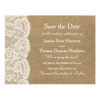 The Kraft & Lace Wedding Collection Save The Date Postcard