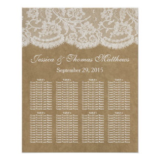 The Kraft & Lace Wedding Collection Seating Chart Poster