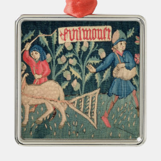 The Labours of the Months, Alsace (tapestry)Vict Silver-Colored Square Decoration