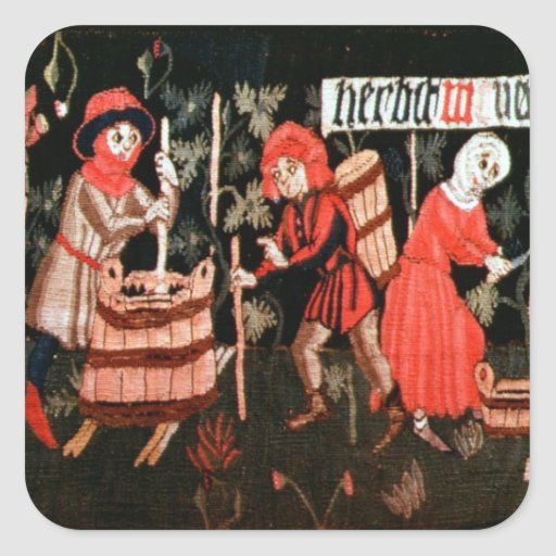 The Labours of the Months, from Alsace Square Stickers
