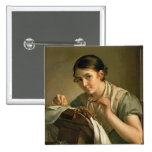 The Lacemaker, 1823 15 Cm Square Badge
