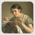 The Lacemaker, 1823 Square Sticker