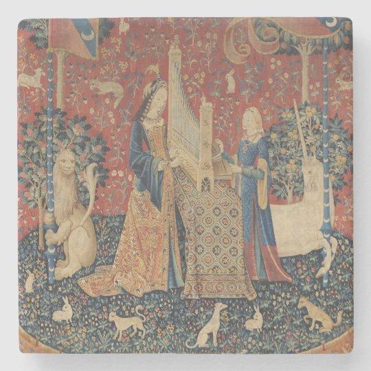 The Lady and the Unicorn: 'Hearing' Stone Coaster