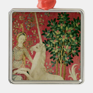 The Lady and the Unicorn: 'Sight' Silver-Colored Square Decoration
