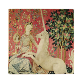 The Lady and the Unicorn: 'Sight' Wood Coaster