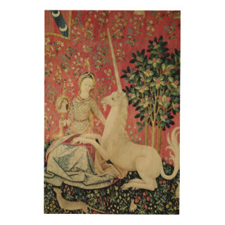 The Lady and the Unicorn: 'Sight' Wood Wall Art