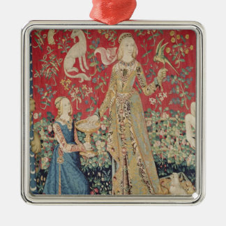The Lady and the Unicorn: 'Taste' Silver-Colored Square Decoration