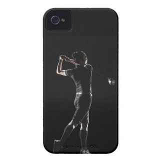 The lady golfer swings the driver of golf iPhone 4 Case-Mate cases