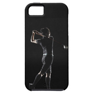 The lady golfer swings the driver of golf iPhone 5 cases