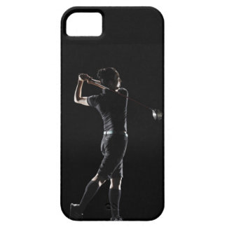 The lady golfer swings the driver of golf iPhone 5 cover