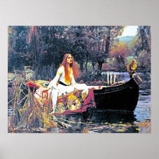 The Lady of Shalott, Art Nouveau painting Print