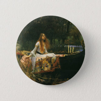 The Lady of Shalott On Boat by JW Waterhouse 6 Cm Round Badge