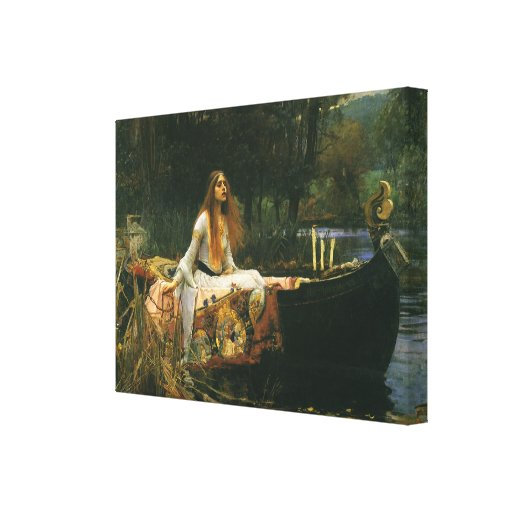 The Lady of Shalott (On Boat) by JW Waterhouse Canvas Prints