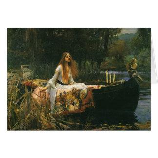 The Lady of Shalott On Boat by JW Waterhouse Card