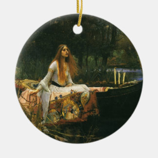 The Lady of Shalott On Boat by JW Waterhouse Christmas Ornament