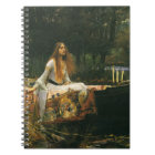 The Lady of Shalott On Boat by JW Waterhouse Notebook