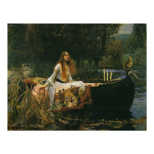 The Lady of Shalott (On Boat) by JW Waterhouse Posters