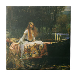 The Lady of Shalott On Boat by JW Waterhouse Tile
