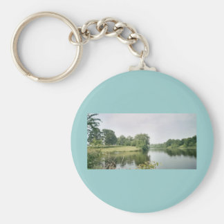 The Lake in Illinois Basic Round Button Key Ring