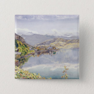 The Lake of Lucerne, Mount Pilatus in the Distance 15 Cm Square Badge