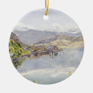 The Lake of Lucerne, Mount Pilatus in the Distance Round Ceramic Decoration