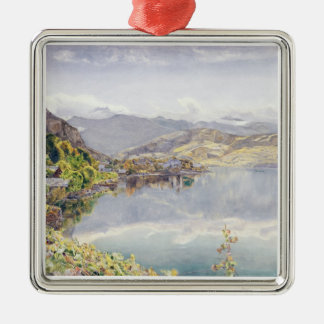 The Lake of Lucerne, Mount Pilatus in the Distance Silver-Colored Square Decoration